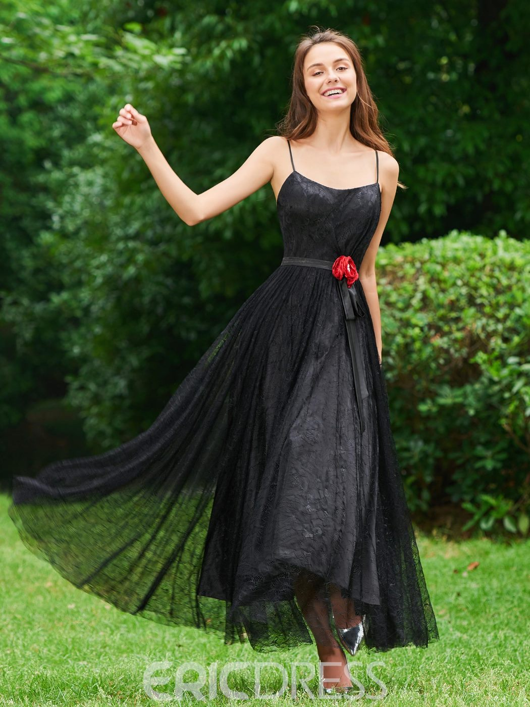 Ericdress A Line Spaghetti Straps Black Lace Prom Dress