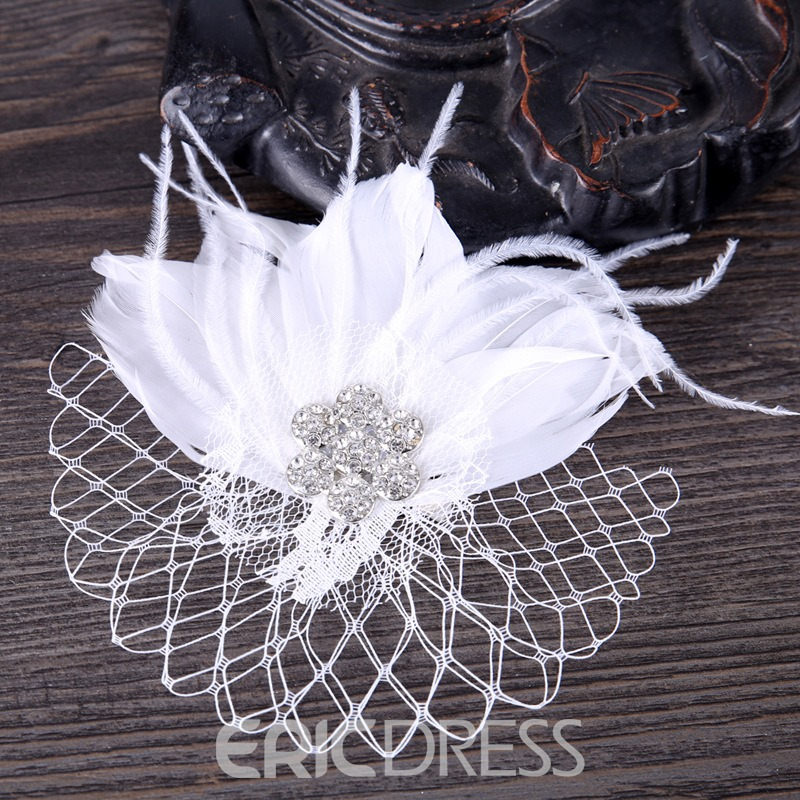 Ericdress Feather Diamante Wedding Bride Hair Accessories