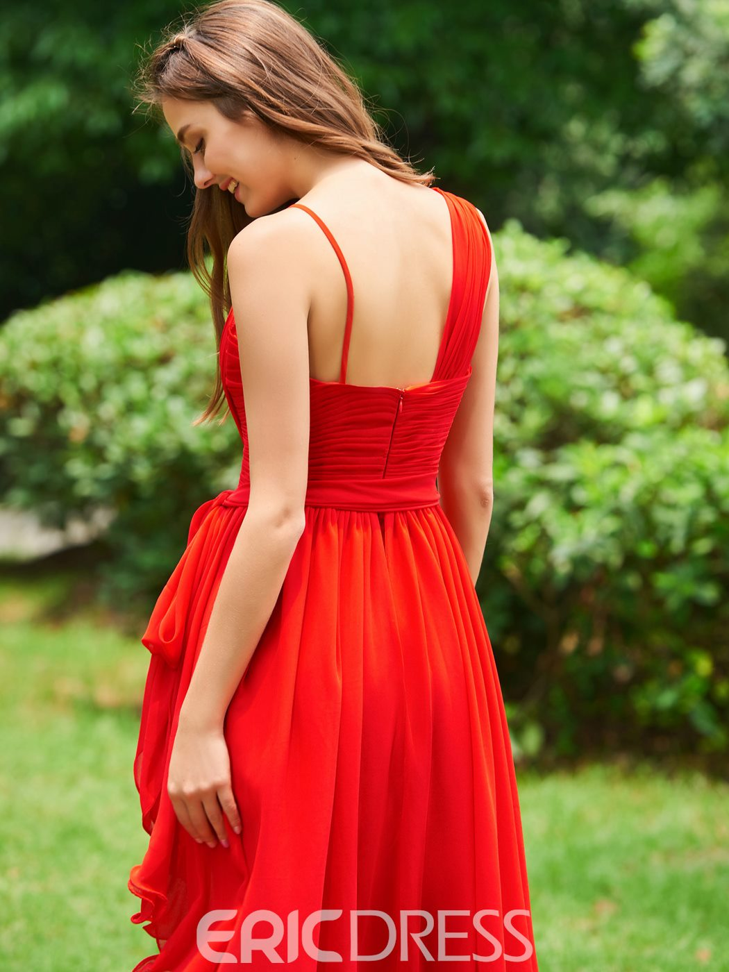 Ericdress A Line V Neck Asymmetry Red Prom Dress