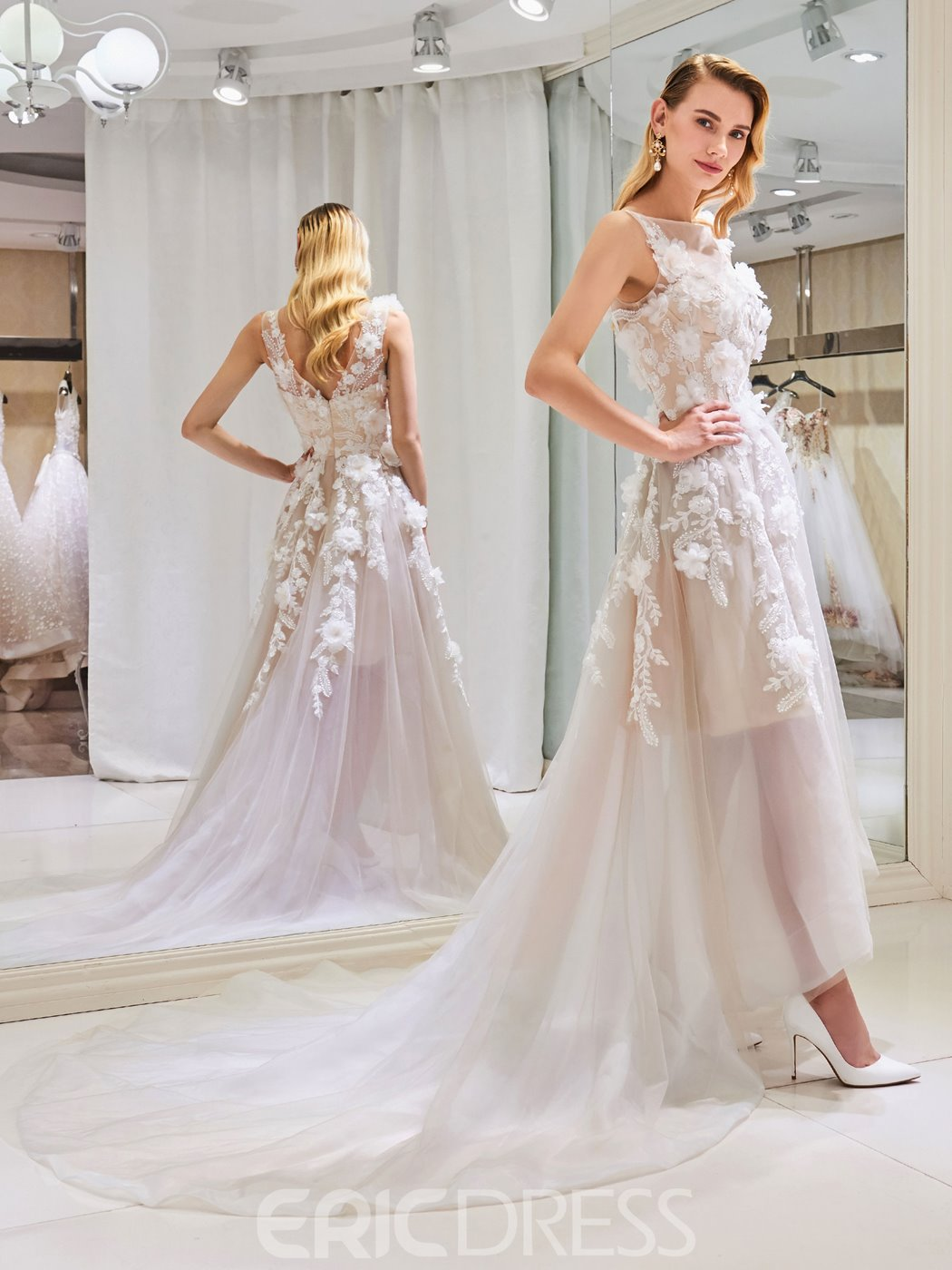 Ericdress High Low Tulle Color 3D Floral Wedding Dress