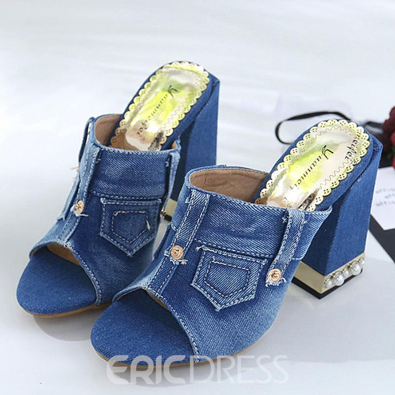 Ericdress Denim Slip-On Chunky Heel Mules Shoes
