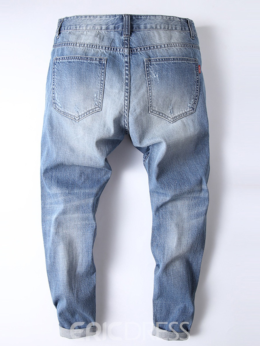 Ericdress Light Blue Straight Worn Thin Mens Ripped Jeans