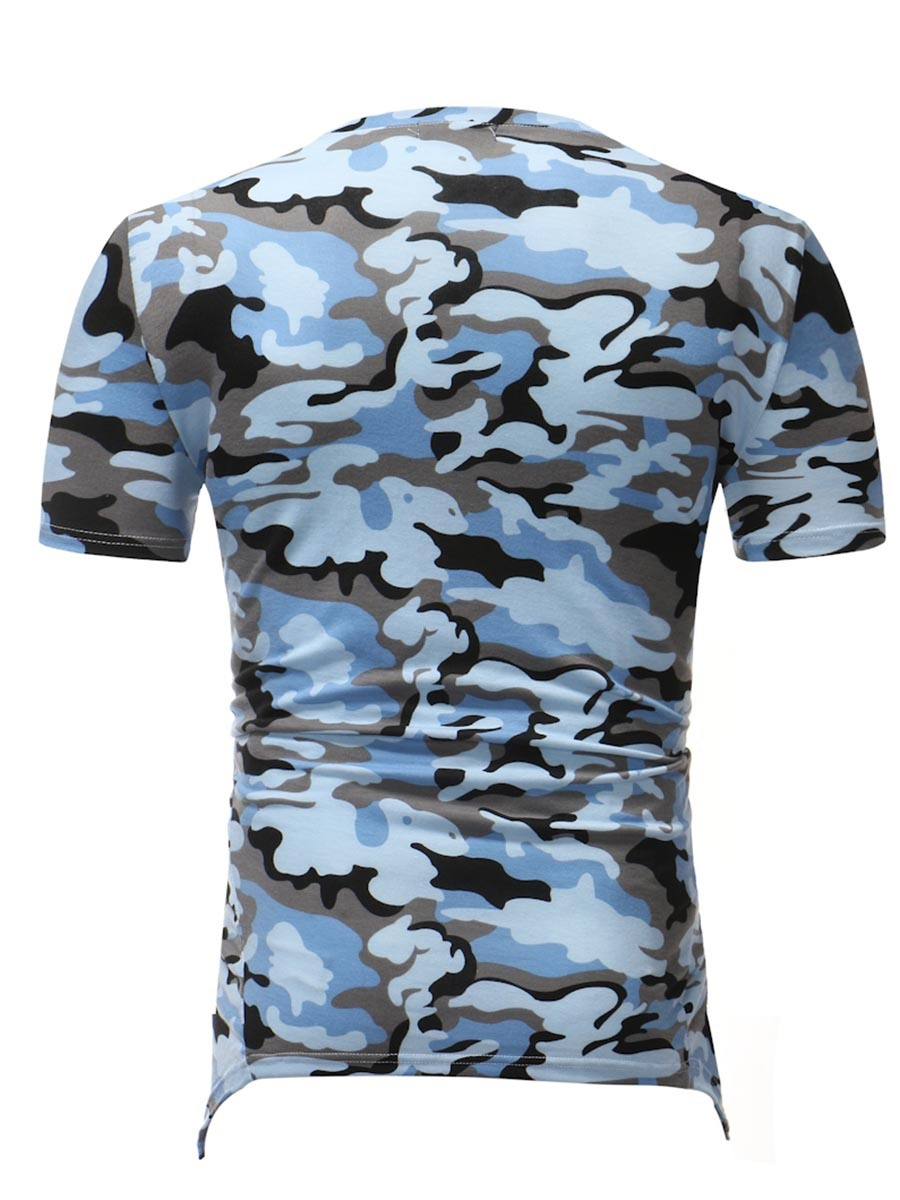 Ericdress Camouflage V-Neck Slim Side Zip Designed Mens T Shirts