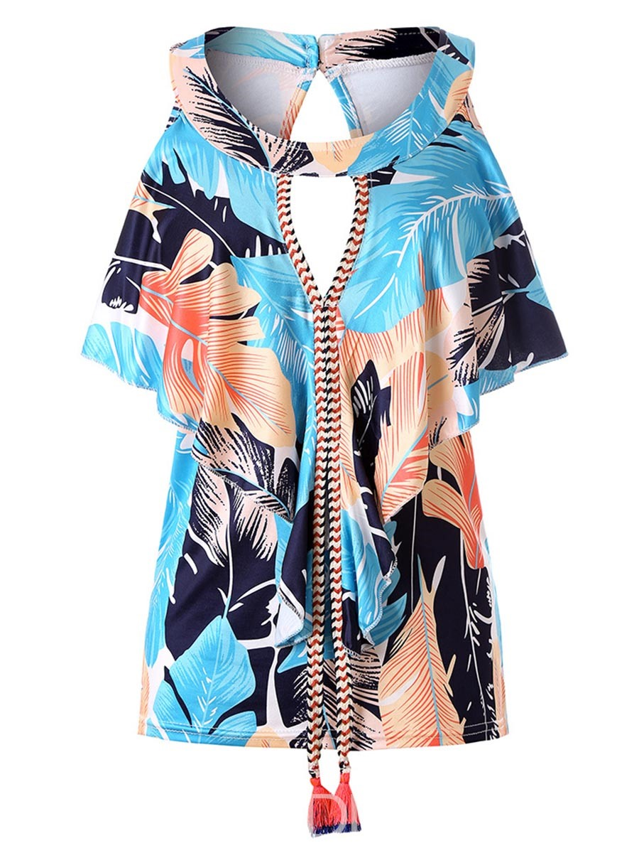 Ericdress Loose Tie Front Plant Print Short Sleeve Womens T Shirt