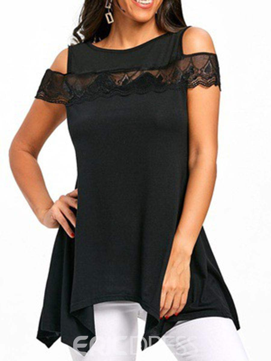 Ericdress Loose Cold Shoulder Lace Patchwork Womens T Shirt