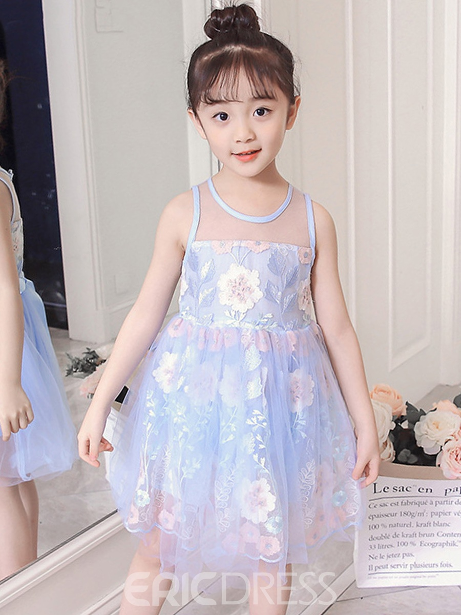 Ericdress Mesh Embroidery Floral Printed Girl's Sleeveless Dress