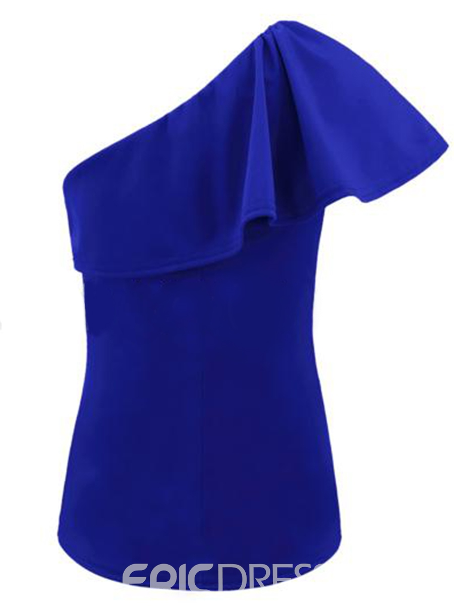 Ericdress Plain Ruffles Oblique Collar Short Sleeve Womens T Shirt