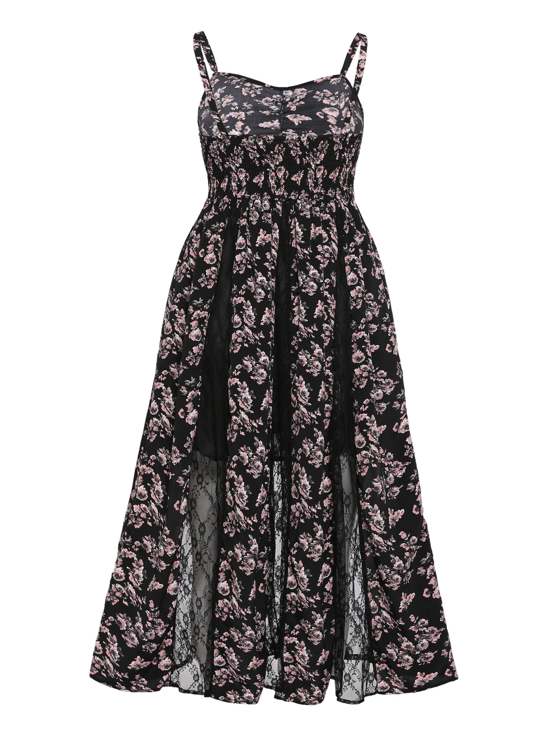 Ericdress Floral Backless Patchwork Lace Casual Dress