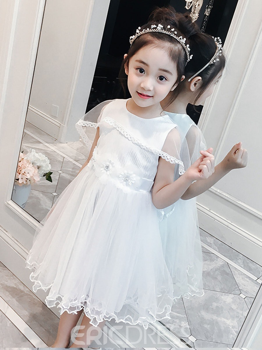 Ericdress Patchwork Bow Lace Up Floral Girl's Princess Dress