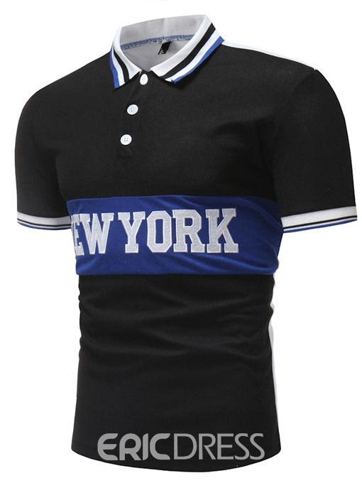 Ericdress New York Letter Printed Mens Polo T Shirts