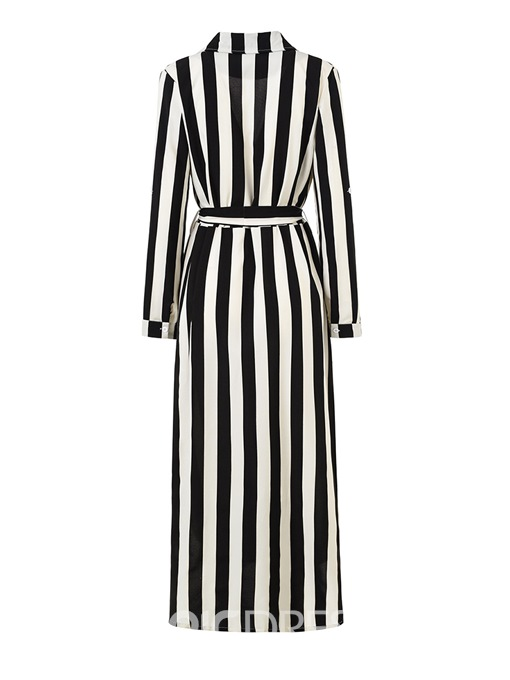 Ericdress Notched Stripe Lapel Pocket Split Maxi Dress