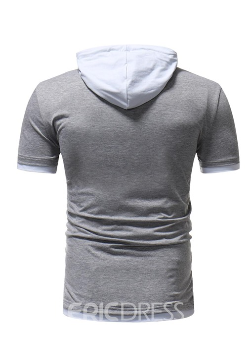Ericdress Color Block Plain Hoodied Slim Mens Pullover T Shirts