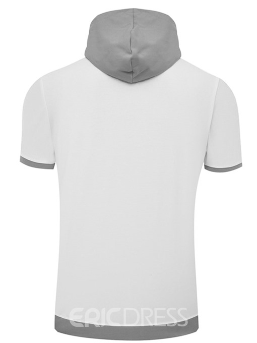 Ericdress Letter Printed Plain Hoodied Mens Short Sleeve T Shirts