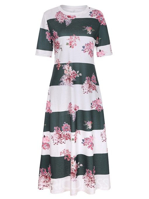 Ericdress Stripe Floral Pullover A-Line Dress