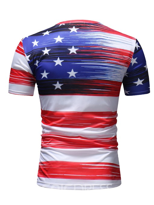 Ericdress Stripe American Flag Printed Mens Casual T Shirts