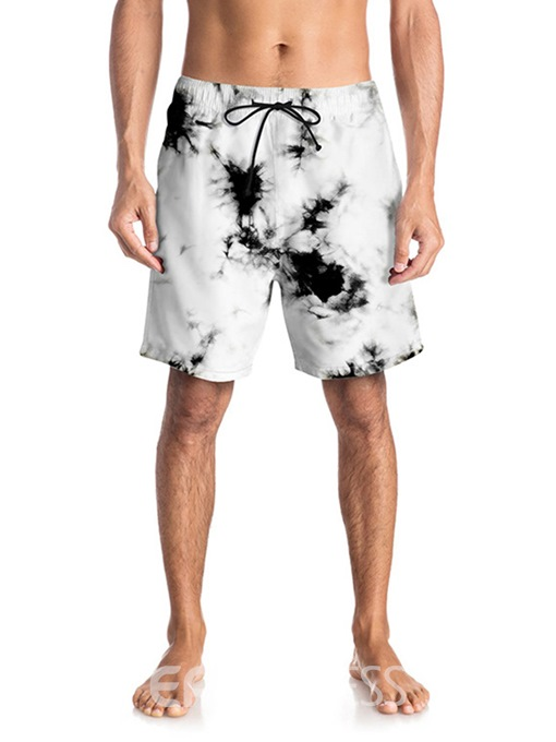 Ericdress Straight Color Block Mens Mid Waist Beach Shorts
