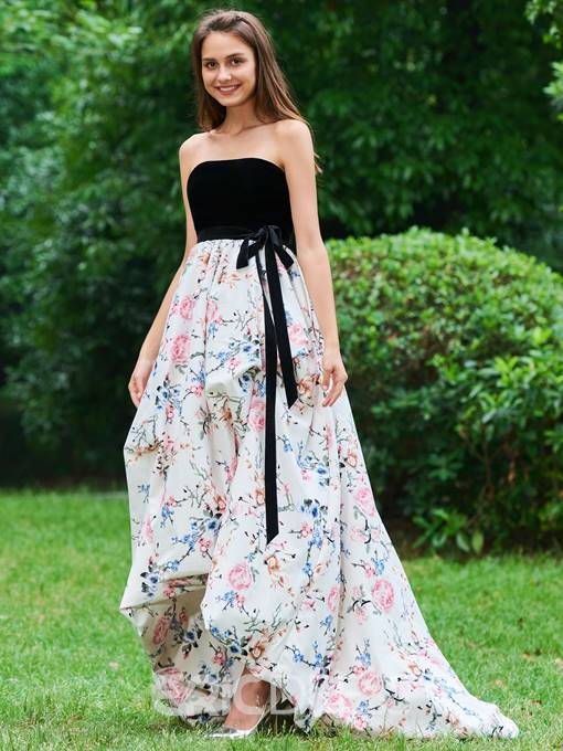 Ericdress A Line Strapless Empire Backless Print Prom Dress