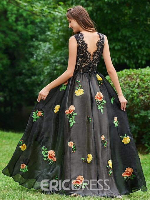 Ericdress A Line V Neck Backless Prom Dress With Embroidery