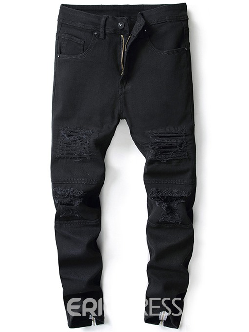 Ericdress Plain Straight Black Mens Ripped Jeans