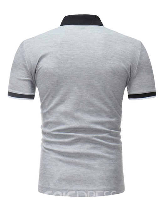 Ericdress Plain Letter Printed Loose Mens Polo T Shirts