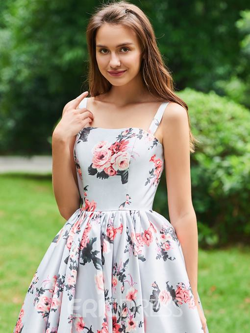 Ericdress A Line Straps Floral Print Prom Dress