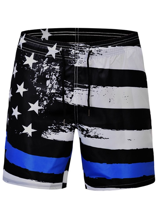 Ericdress Straight Stripe Mid Waist Mens Beach Shorts