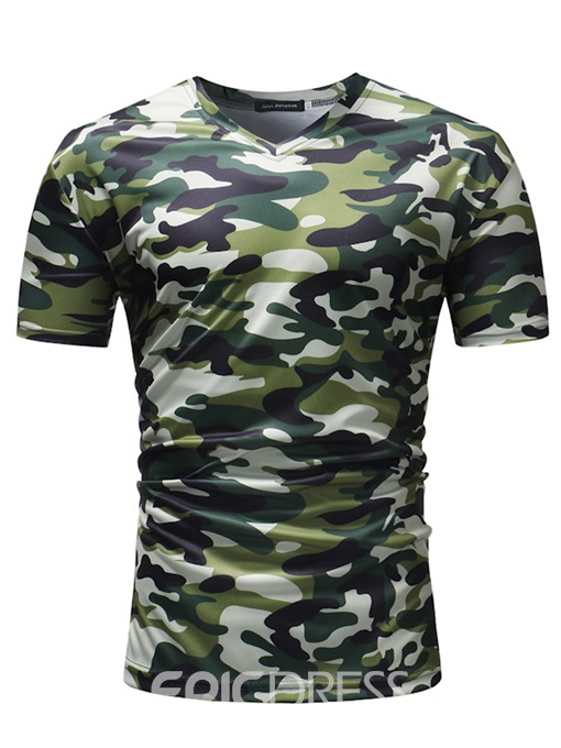 Ericdress Camouflage V-Neck Straight Mens Casual T Shirts