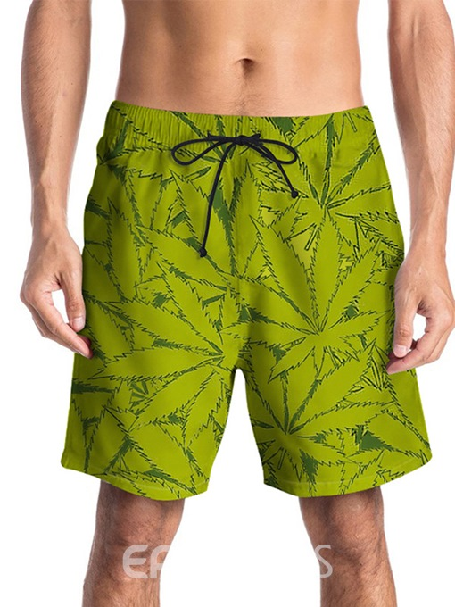 Ericdress Straight Floral Lace-Up Mid Waist Mens Beach Shorts