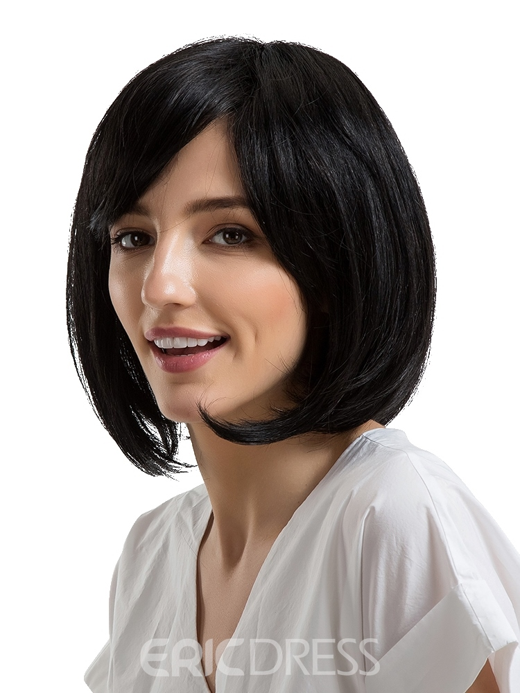 Ericdress Short Bob Hairstyle Human Hair Women Capless Wig 12 Inches