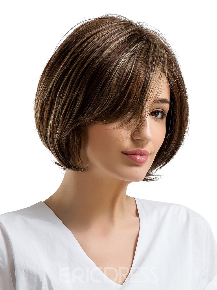 Ericdress Bob Hairstyle Mix Color Human Hair Women Capless Wig 10 Inches