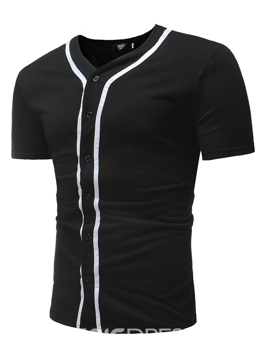 Ericdress Striped Plain Slim Fitted Mens T Shirts