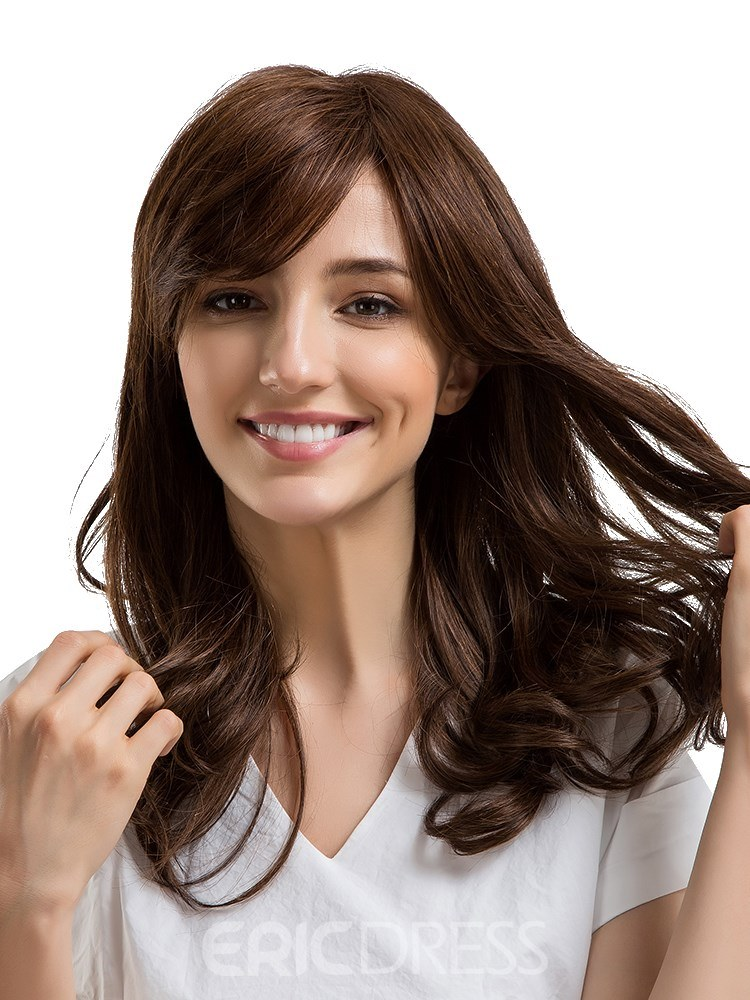 Ericdress Loose Wavy Human Hair With Bang Women Capless Wig 22 Inches