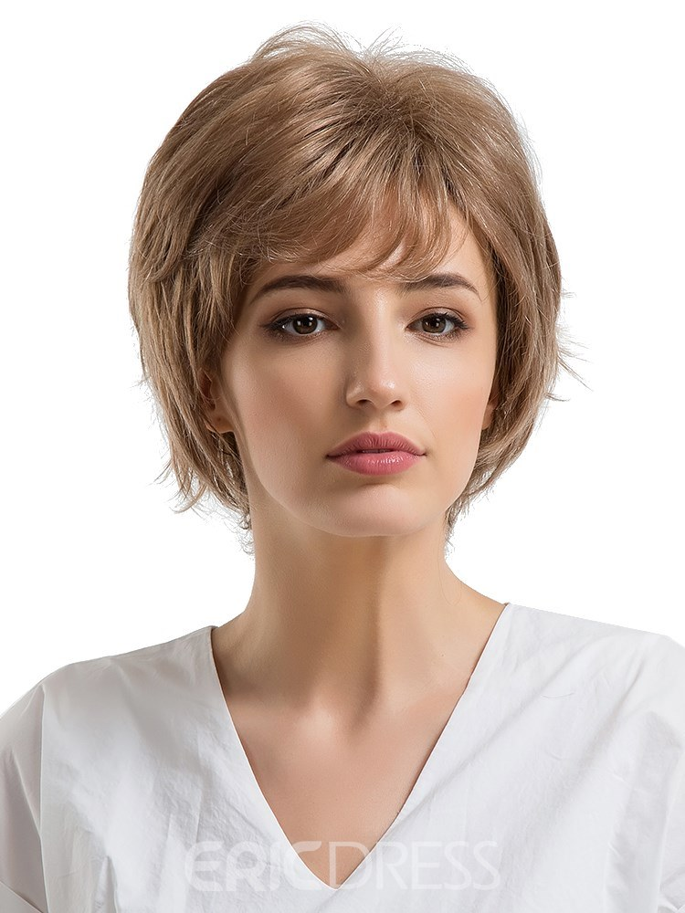 Ericdress Short Type Layered Cut Human Hair Women Capless Wig