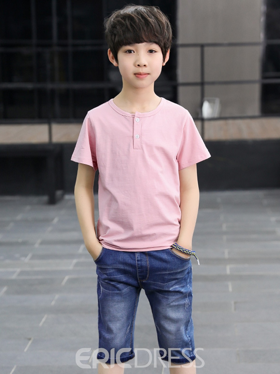 Ericdress Plain T Shirts & Denim Shorts Boy's Casual Outfits