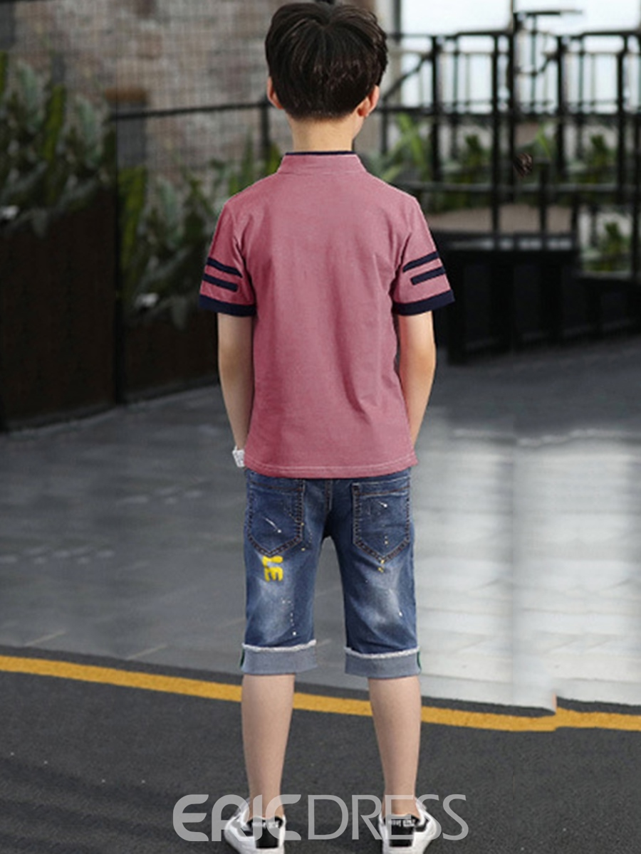 Ericdress Stripe Plain T Shirts & Denim Shorts Boy's Outfits