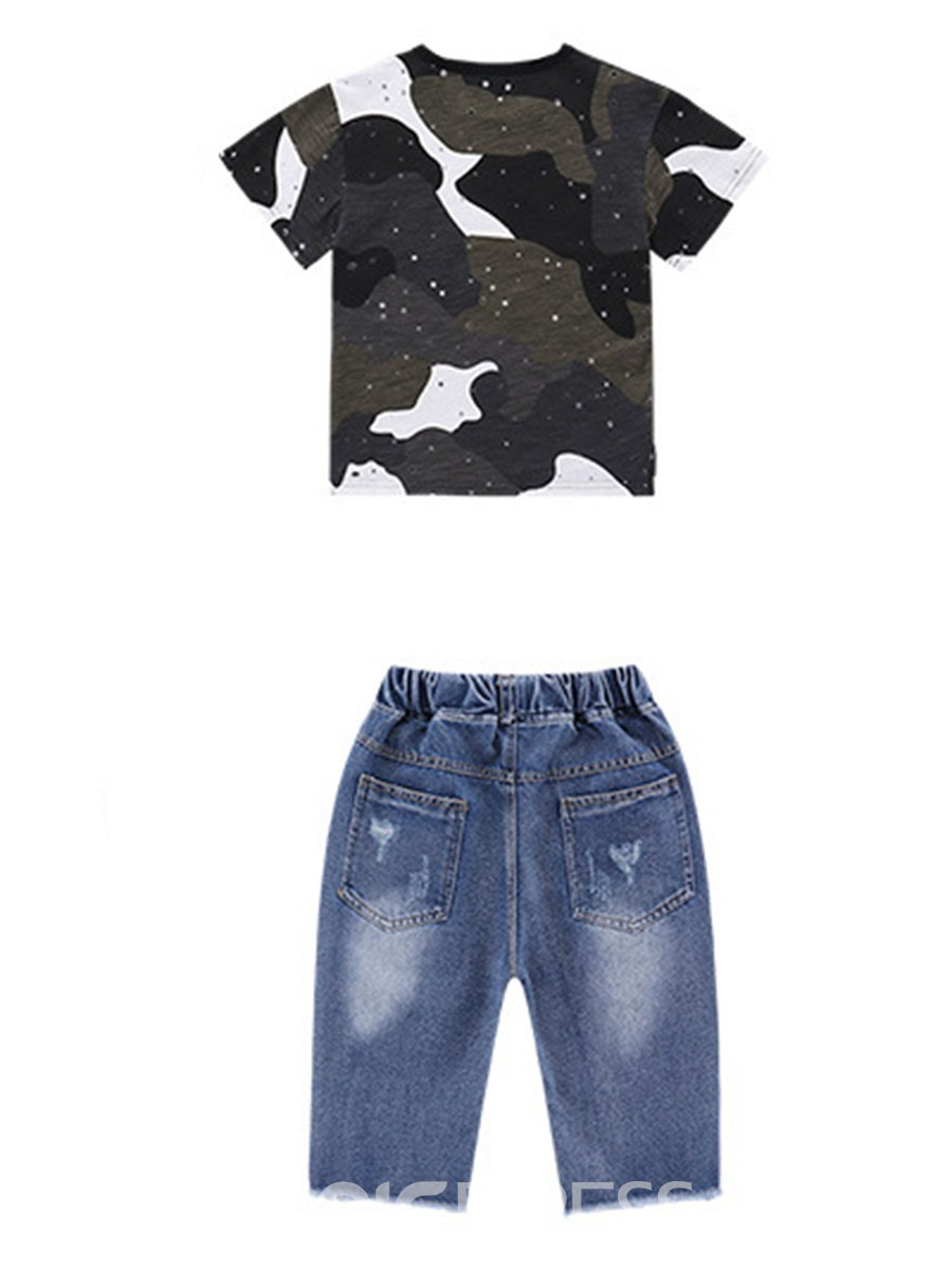 Ericdress Camouflage T Shirts Denim Ripped Shorts Boy's Outfits