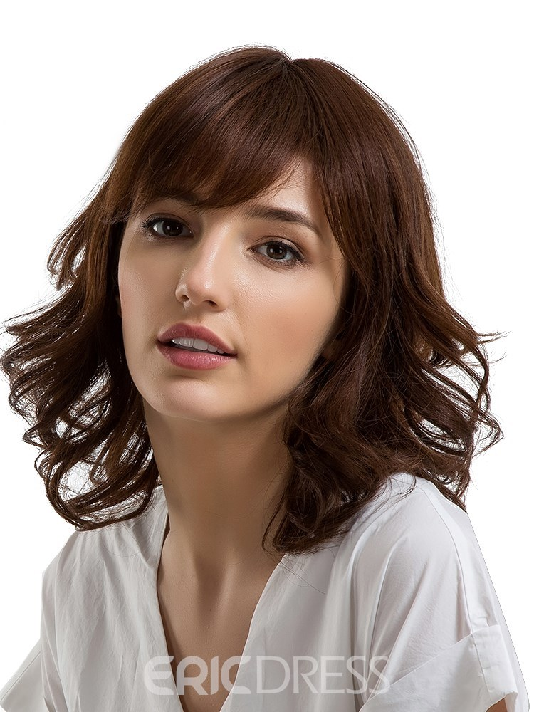 Ericdress Middle Length Loose Wave Human Hair With Bang Capless Wig 14 Inches