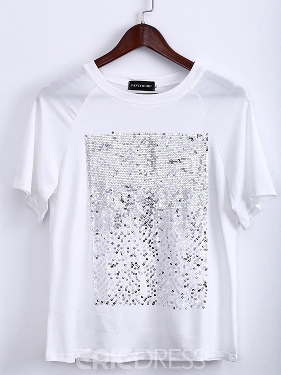 Ericdress Sequins Loose Scoop Short Sleeve Womens T Shirt