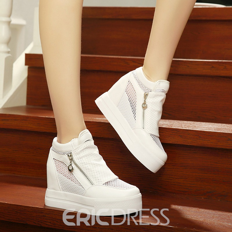 Ericdress Mesh Hollow Platform Zipper Women's Flats