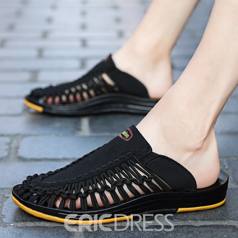 Ericdress Woven Color Block Slip-On Closed Toe Men's Sandals