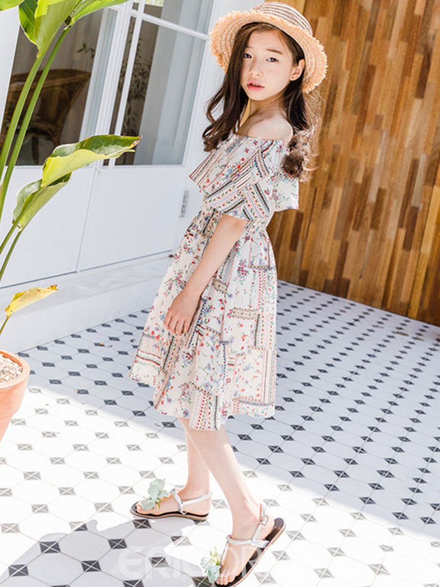 Ericdress Floral Printed A-Line Girl's Chiffon Casual Dress