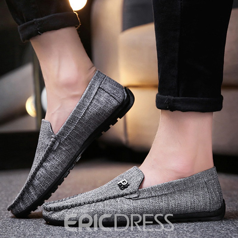 Ericdress Stripe Cloth Slip-On Round Toe Men's Loafers