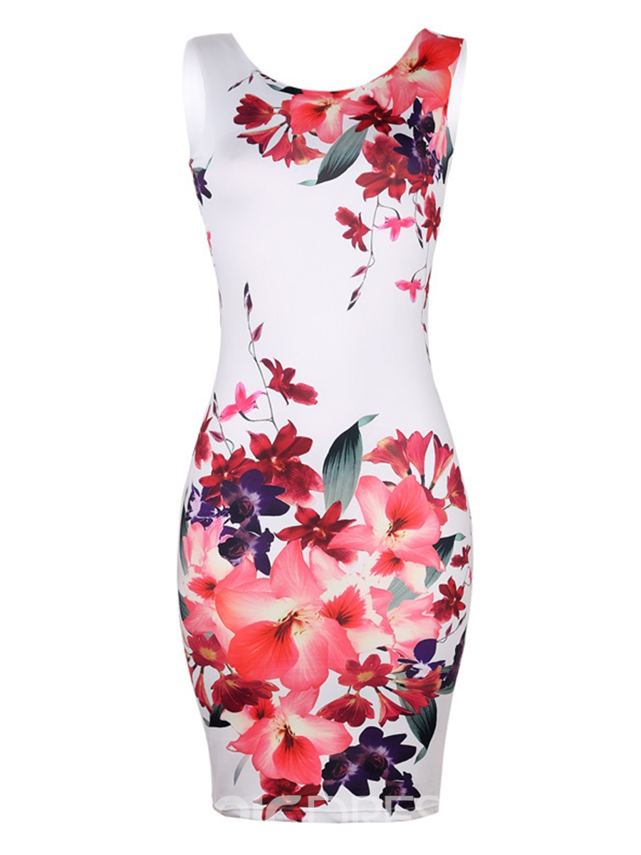 Ericdress Floral Zipper Print Pullover Bodycon Dress