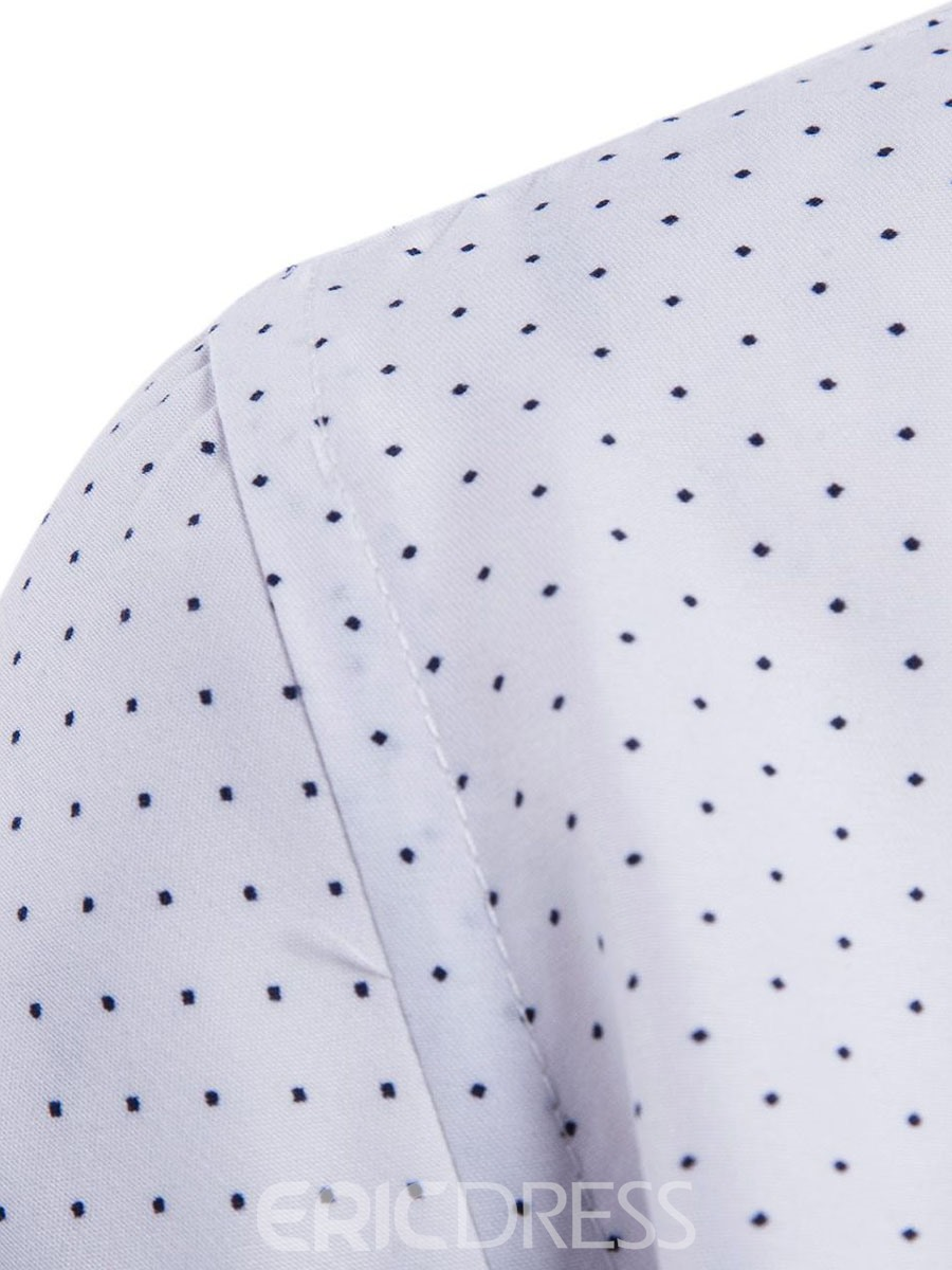 Ericdress Polka Dots Printed Slim Fit Mens Casual Dress Shirts