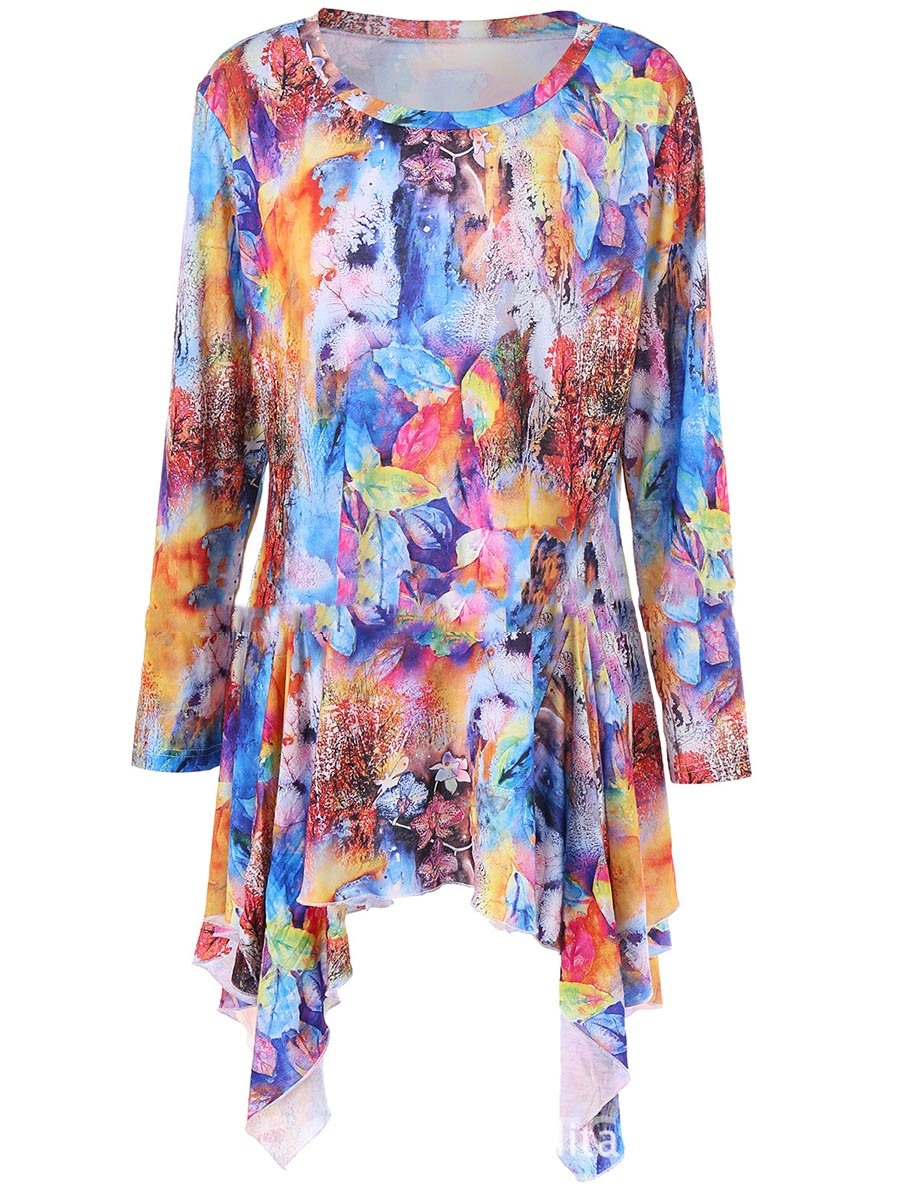 Ericdress Scoop Asymmetric Print Long Sleeve Womens T Shirt