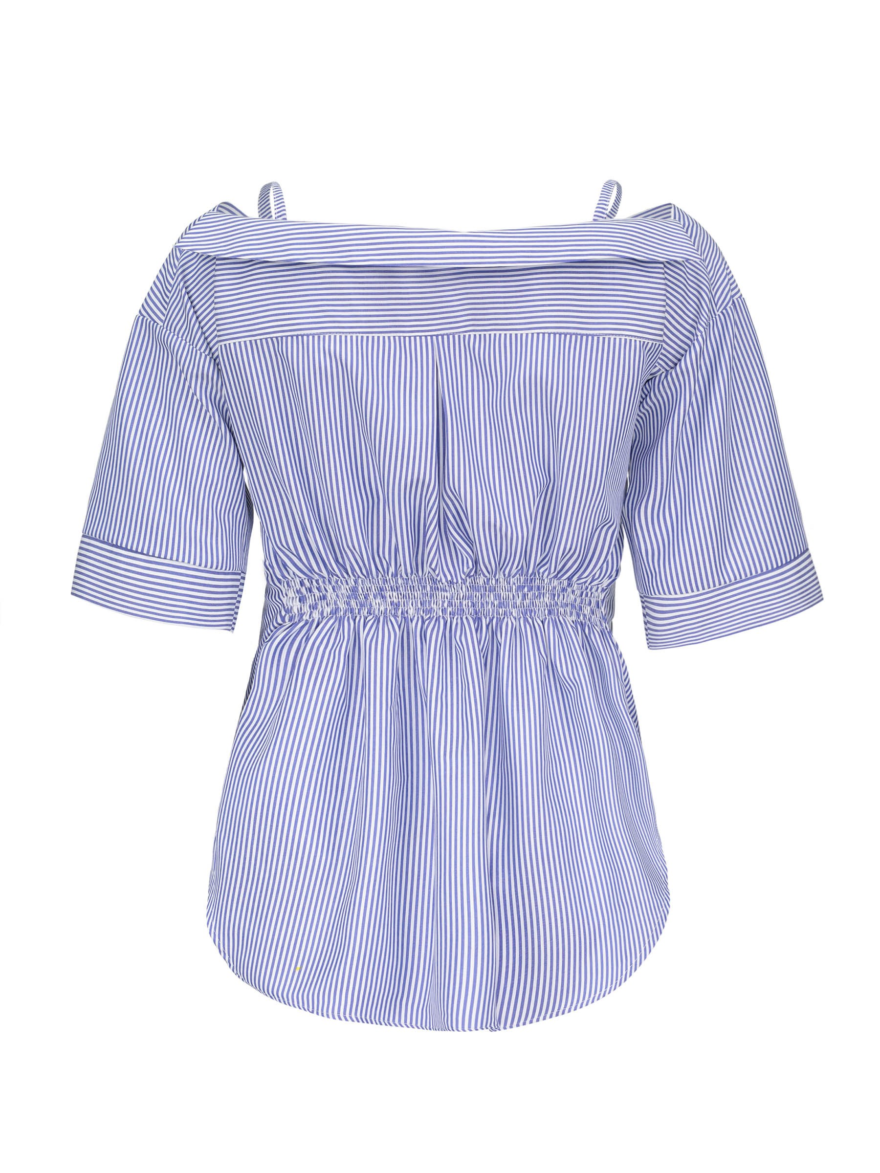 Ericdress Notch-V Button Pleated Stripe Short Sleeve Womens Top