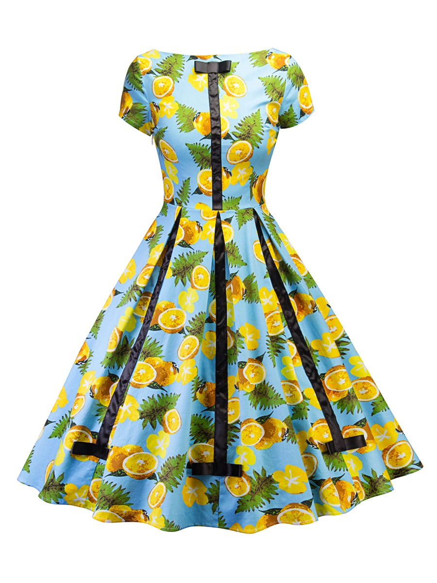 Ericdress Trumpet Patchwork Bowknot A-Line Dress