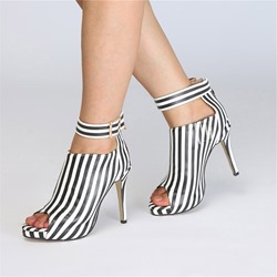 Ericdress Stripe Peep Toe Stiletto Heel Womens Ankle Boots фото