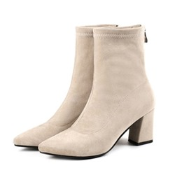 Ericdress Pointed Toe Back Zip Chunky Heel Ankle Boots