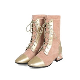 Ericdress Beads Patchwork Square Toe Block Heel Women's Boots